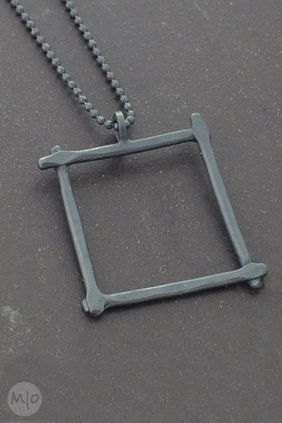 Compartment Square Pendant, Oxidized