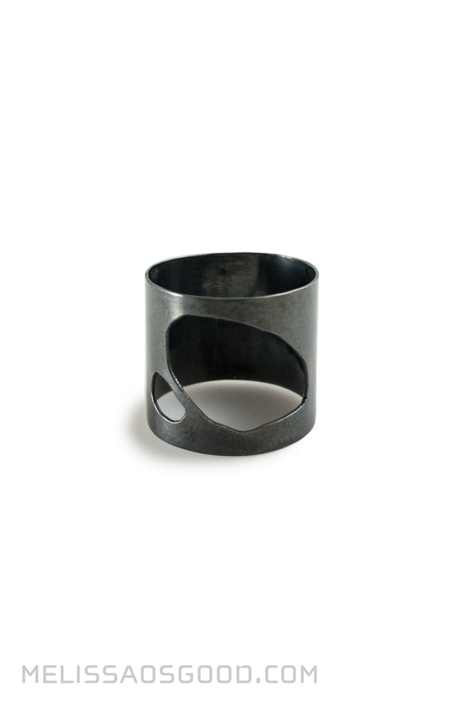 Pebble Ring Oxidized Sterling, HIGH Profile