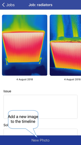 Thermafy user guide, how to add new photo to existing jobs