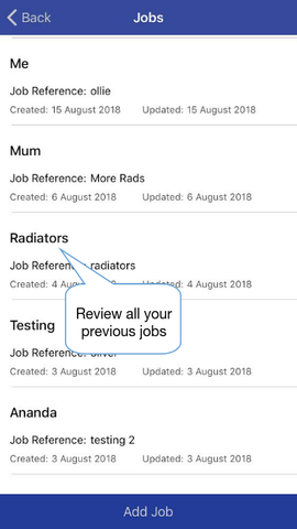 Thermafy user guide, how to review previous jobs