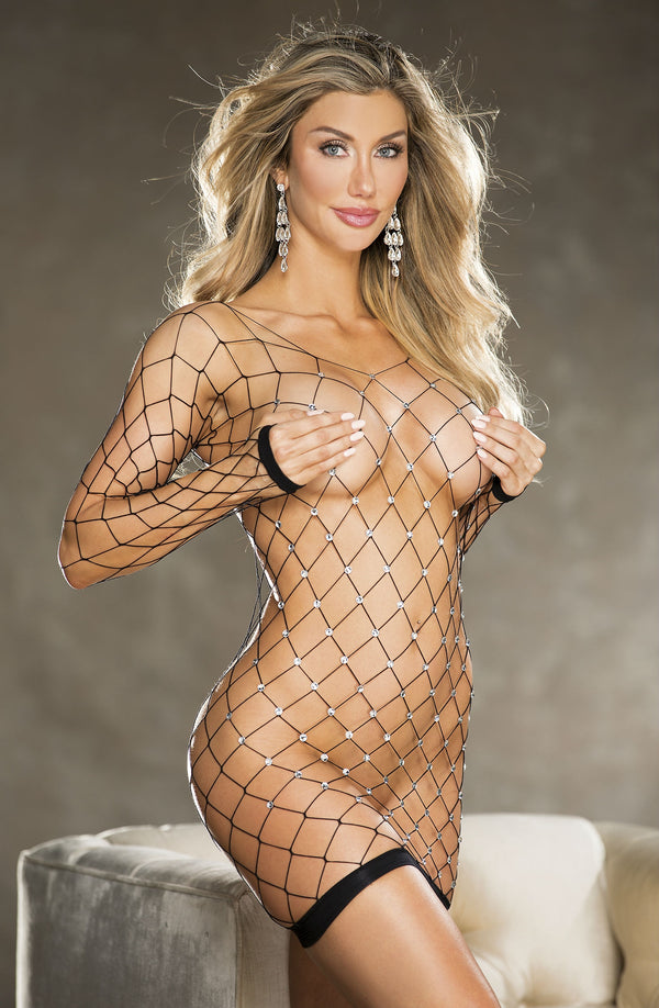 Sparkly Fishnet Long Sleeve Chemise Black