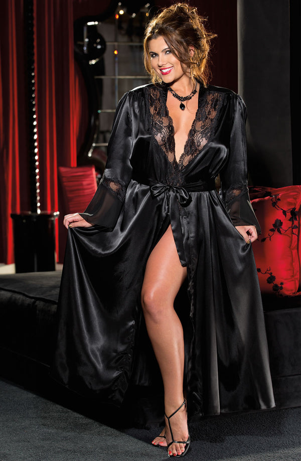 Shirley of Hollywood SoH-IA X20559 Long Robe Black