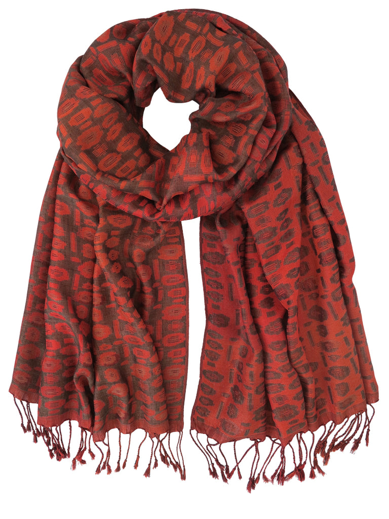 Silk Scarf - Abstract Florals Red by Artisan Route