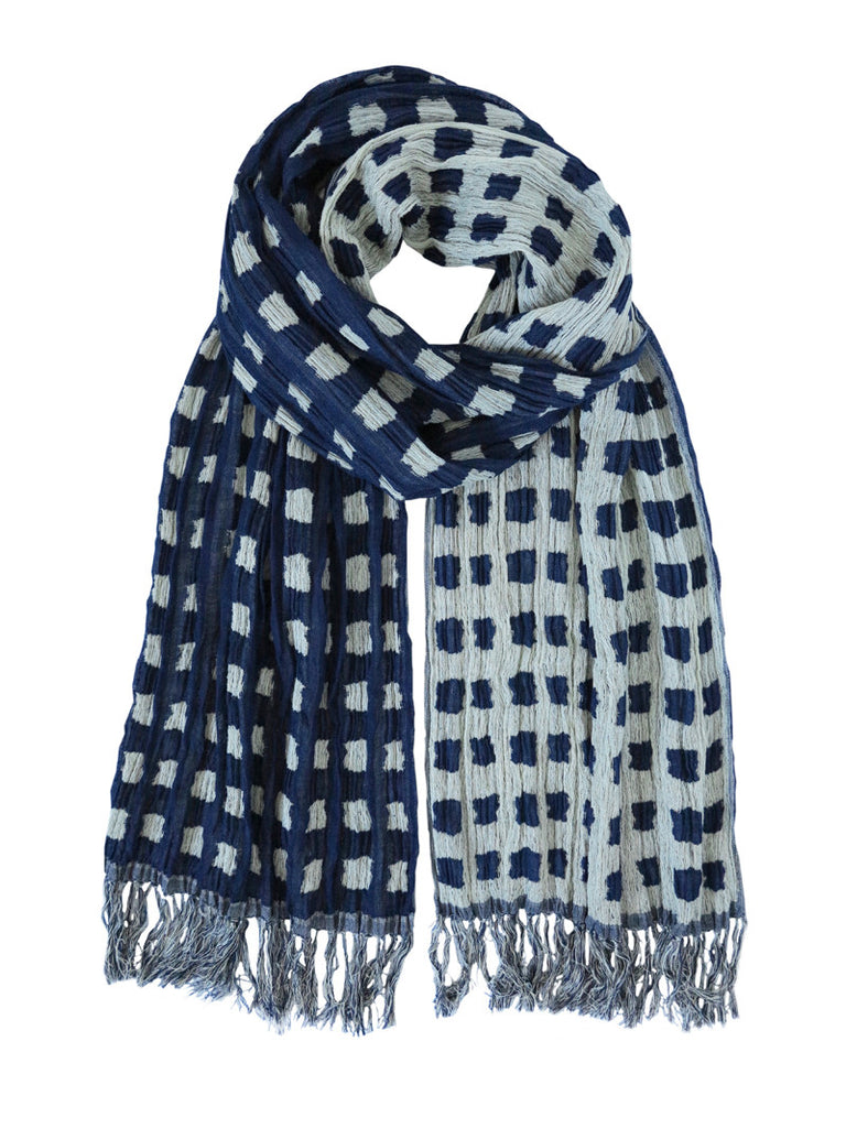 Silk Scarf - Abstrat Patches Navy by Artisan Route