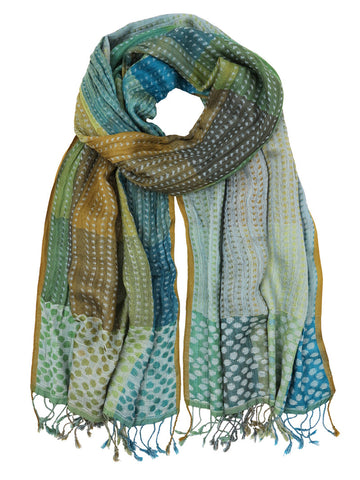 Silk Scarf - Aqua Dots by Artisan Route