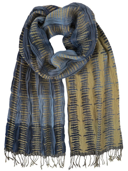 Silk Scarf - Blocked Pattern Blue by Artisan Route