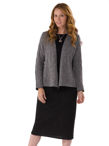 Alpaca Knitwear - Carla Jacket in Charcoal Mix by Artisan Route