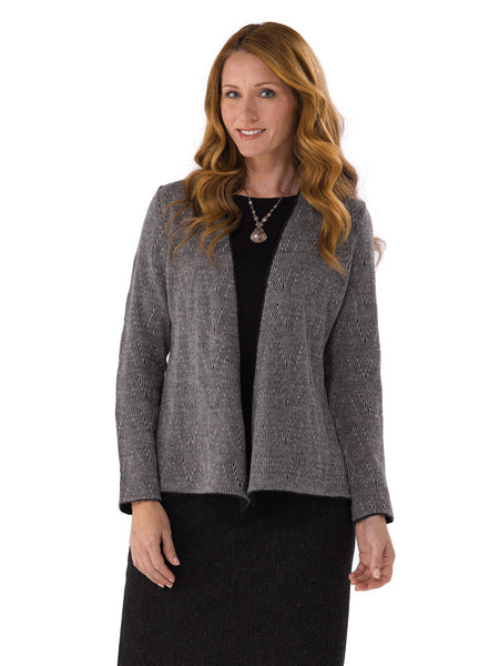 Alpaca Knitwear Carla Jacket in Charcoal Mix inset by Artisan Route