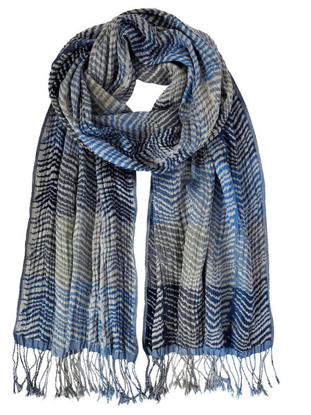 Silk Scarf - Chevrons Blue by Artisan Route