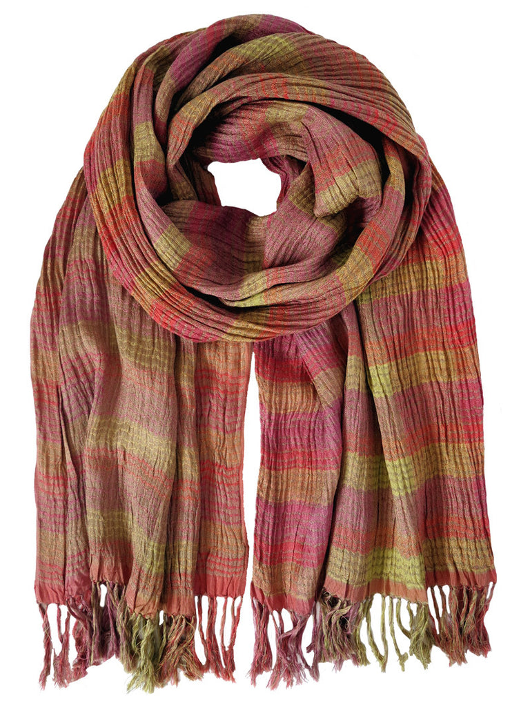 Silk Scarf - Coral Stripe by Artisan Route
