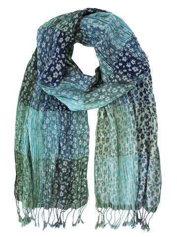 Silk Scarf - Daisy  Floral Aqua by Artisan Route
