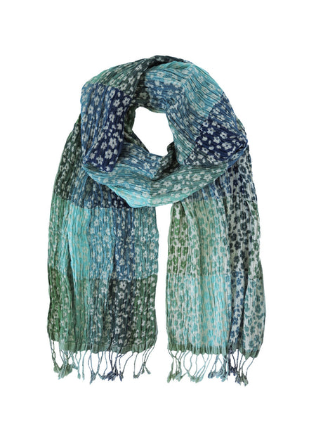 Silk Scarves - Daisy Aqua Floral by Artisan Route