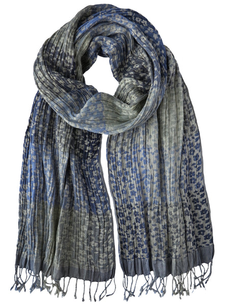 Silk Scarf - Daisy Floral Blue by Artisan Route