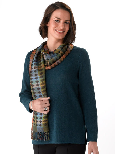 Daniela in Petrol blue with Scarf
