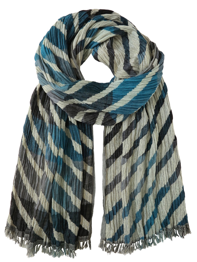 Silk Scarf - Diagonal Stripes in Teal Mix by Artisan Route