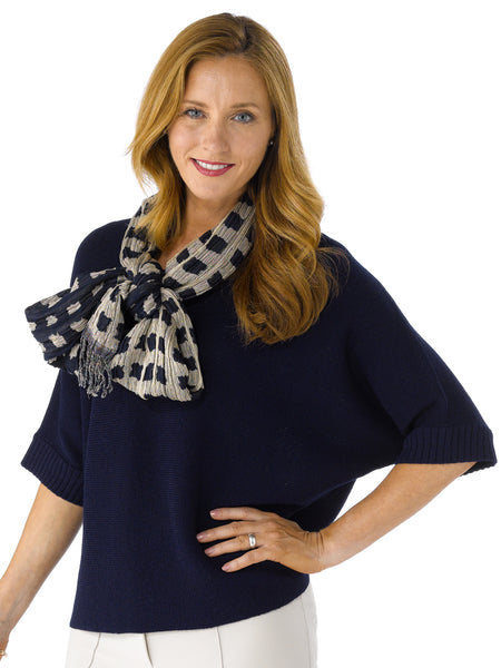 Martina in Deep Navy with Scarf