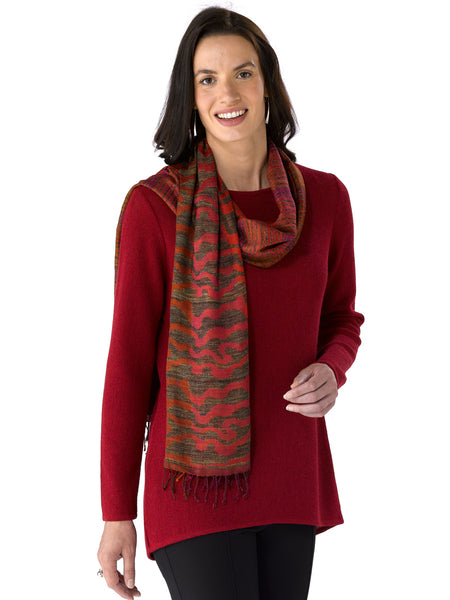 Nina in Ruby with scarf