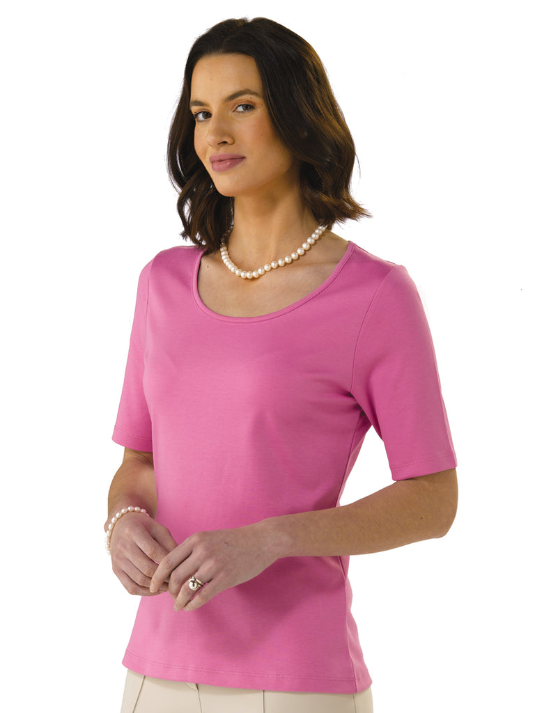 Pima Cotton T Shirt - Pilar in Magenta by Artisan Route