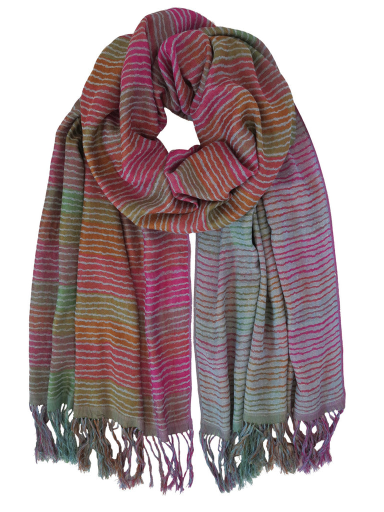 Silk Scarf - Pink Stripe by Artisan Route