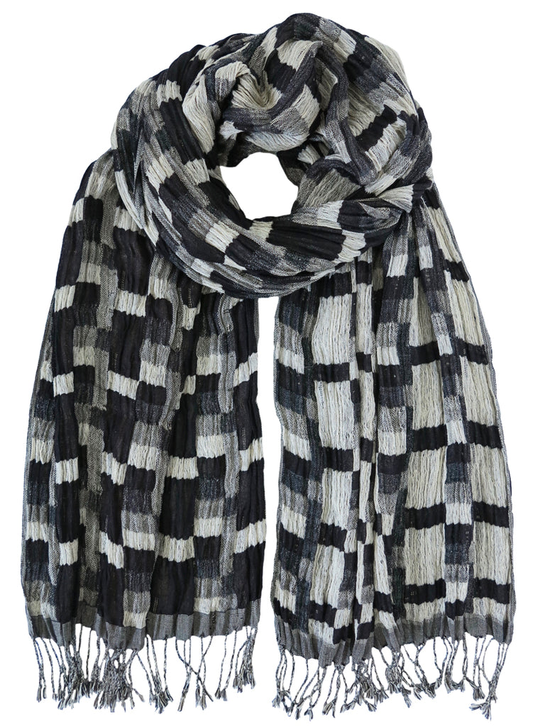 Silk Scarf - Stepped Grey Mix by Artisan Route