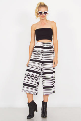 Stripe Flare Gaucho Pants