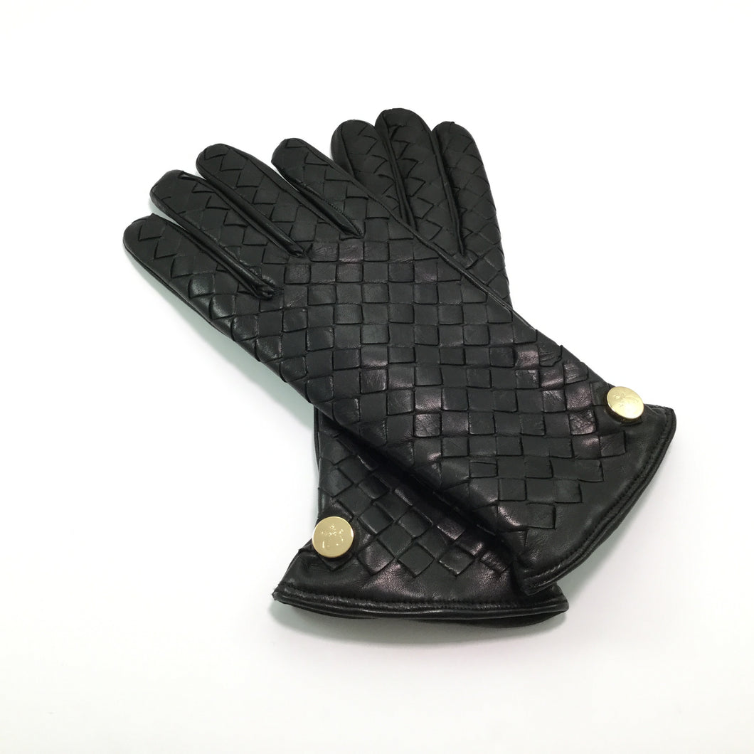 Mens leather gloves size 2x - Black Interwoven Soft Nappa Leather Gloves With Cashmere Lining And Magnetic Button
