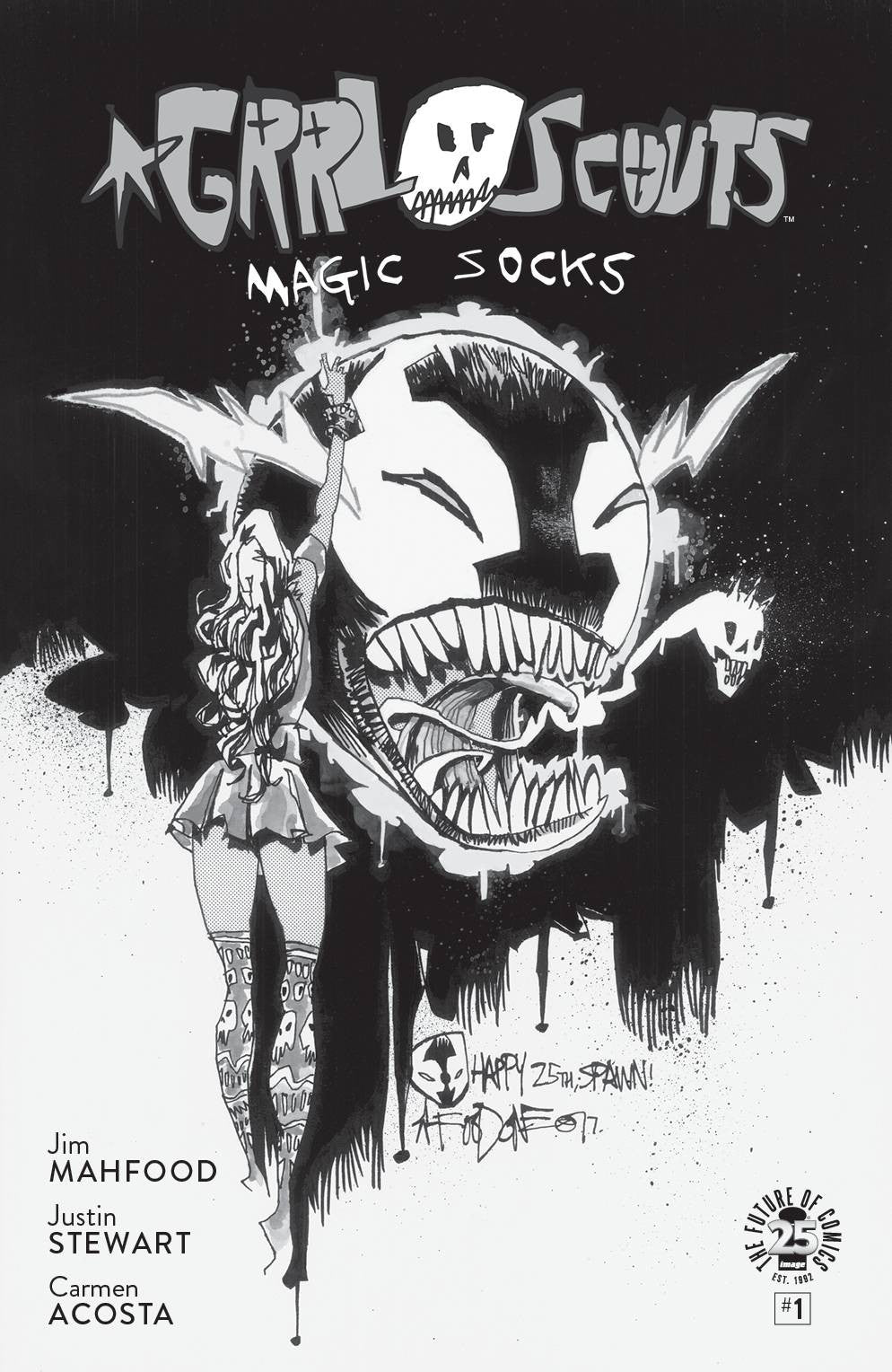 GRRL SCOUTS MAGIC SOCKS #1 CVR D SPAWN MONTH B&W VAR