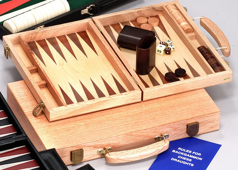 11″ DELUXE OAK BACKGAMMON WITH WOOD COUNTERS
