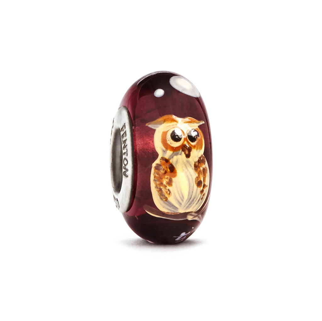 """Moonlit Owl"" Hand Decorated Glass Bead - Fenton Glass Jewelry"