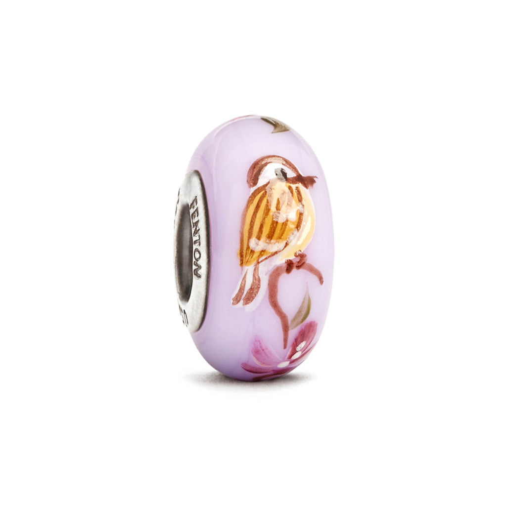 """Tiny Sparrow"" Hand Decorated Glass Bead - Fenton Glass Jewelry"