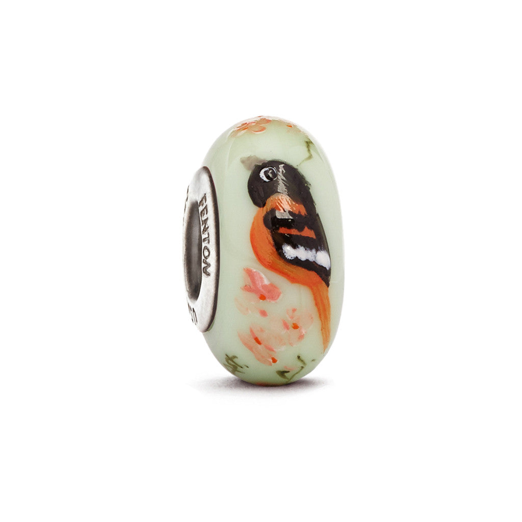 """Baltimore Oriole"" Hand Decorated Glass Bead - Fenton Glass Jewelry"