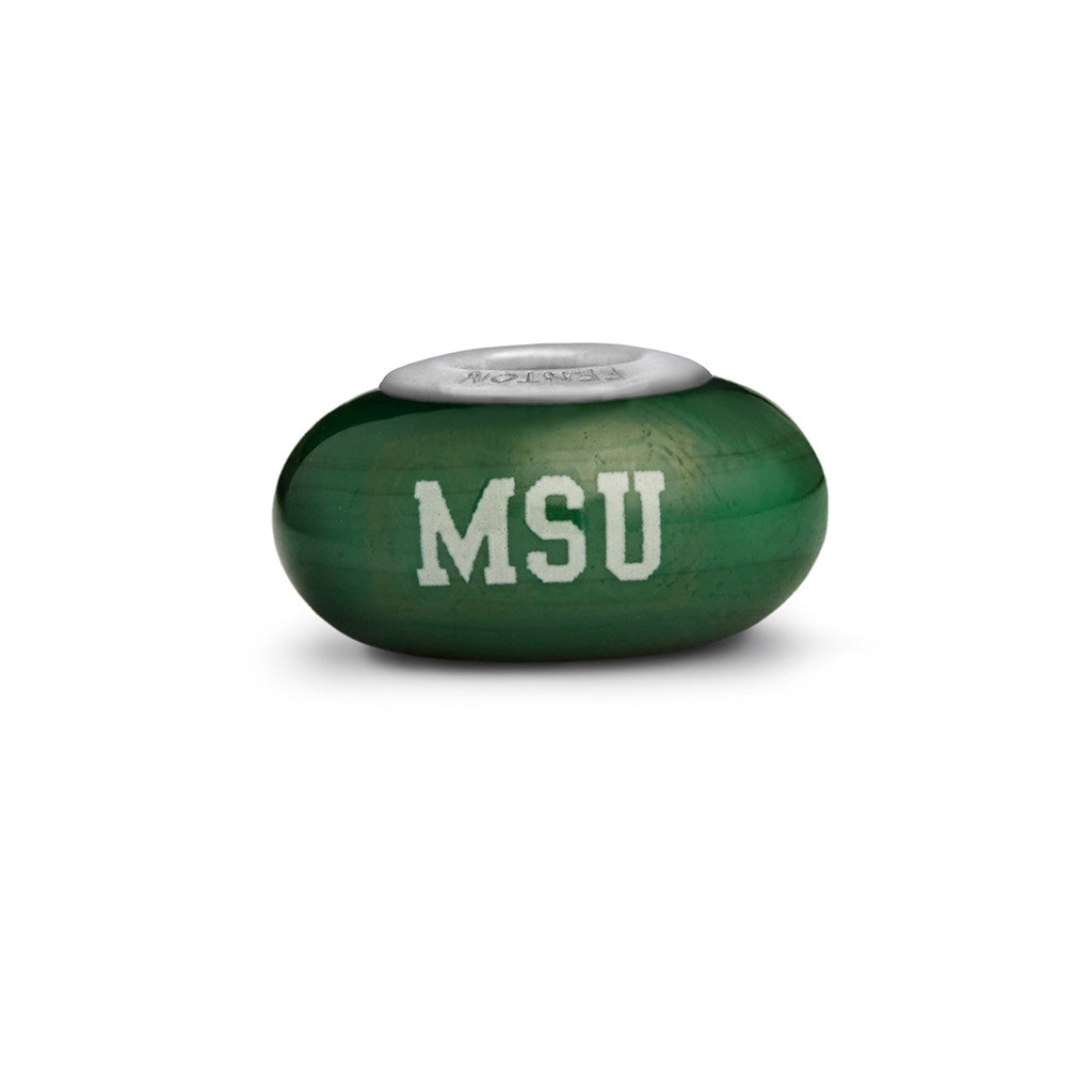 Michigan State Collegiate Green Glass Bead - Fenton Glass Jewelry - 1