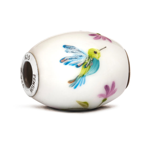"""Kaleidoscope Hummingbird"" Glass Cornerstone Bead - Fenton Glass Jewelry"