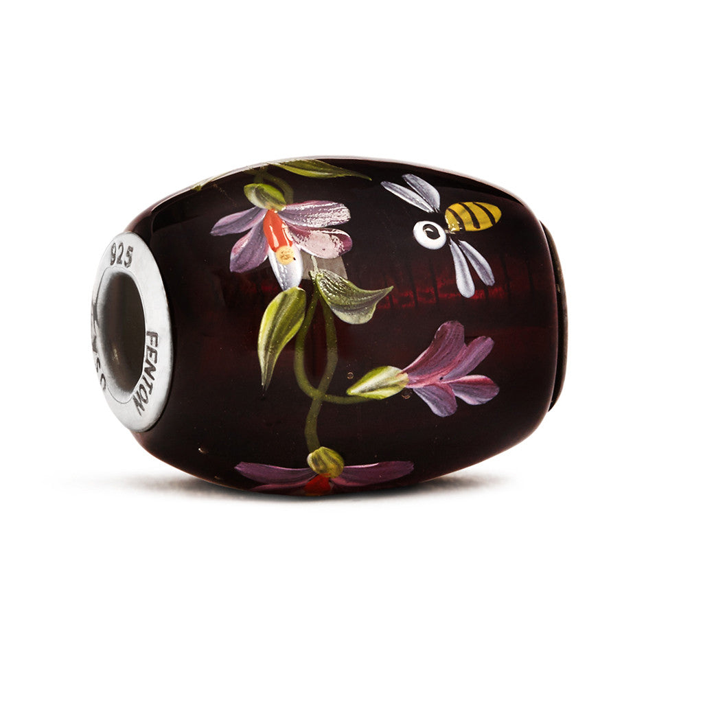 """Magnolias"" Glass Cornerstone Bead - Fenton Glass Jewelry"