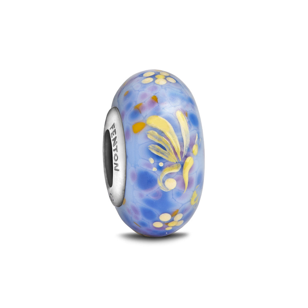 """Flutterby"" Hand Decorated Glass Bead - Fenton Glass Jewelry"