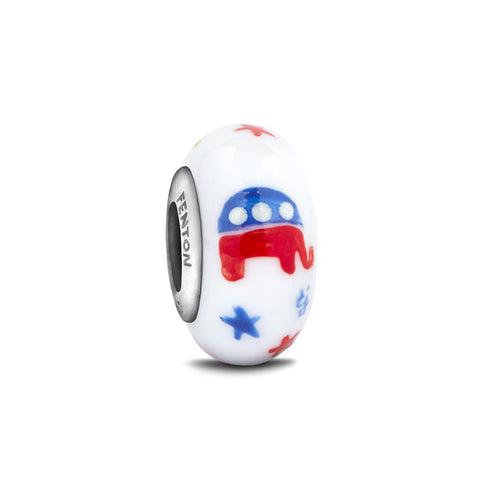 """Patriotic Republican"" Hand Decorated Glass Bead"