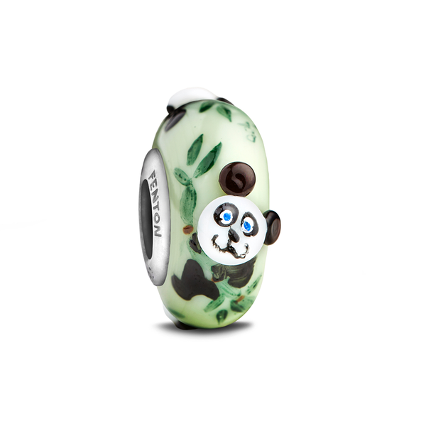 """Baby Panda"" Whimsy Glass Bead - Fenton Glass Jewelry"