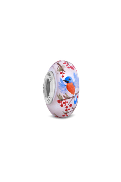 """Snowy Robin"" Hand Decorated Glass Bead"