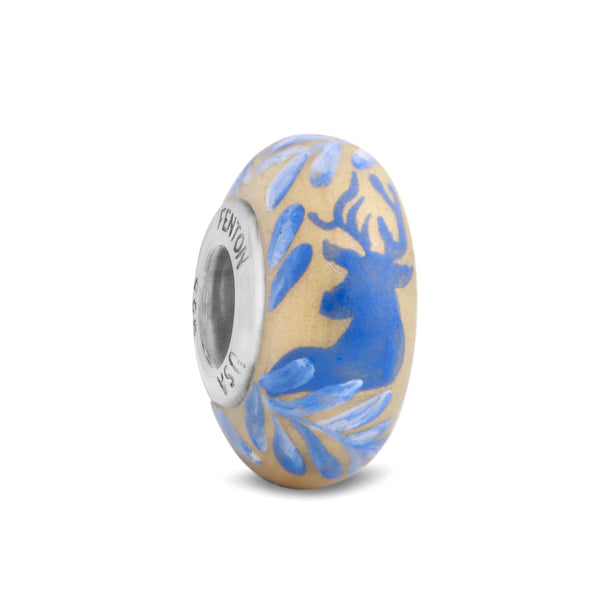 """Golden Buck"" Hand Decorated Glass Bead"