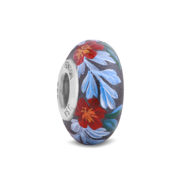 """Camellia"" Hand Decorated Glass Bead"