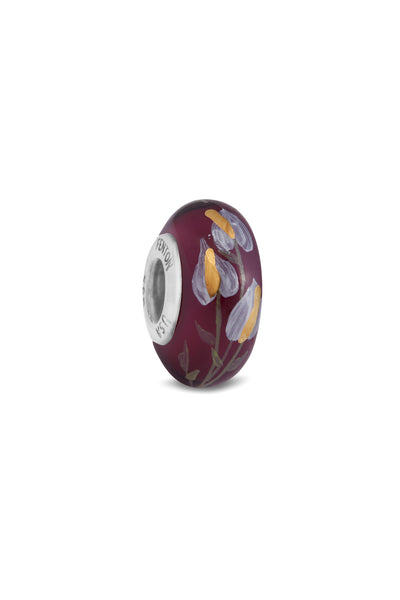 """Floral Wine"" Hand Decorated Glass Bead"