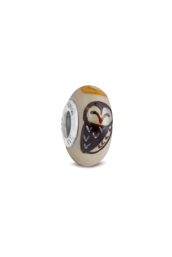 """Night Owl"" Hand Decorated Glass Bead"
