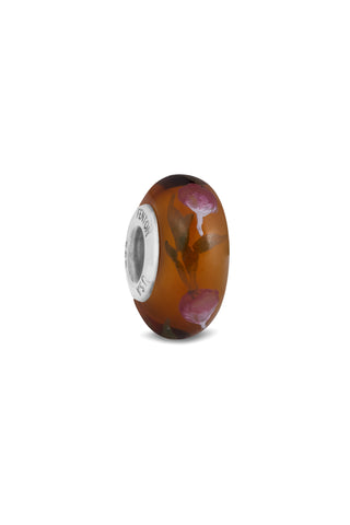 """Rosewood"" Hand Decorated Glass Bead"