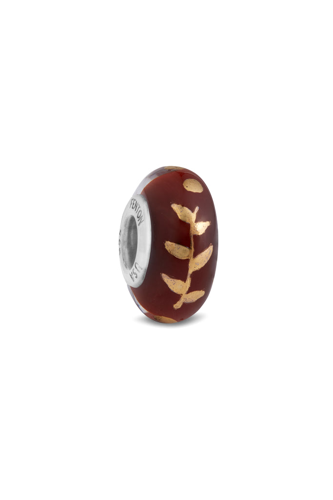 """Autumn Leaf "" Hand Decorated Glass Bead"