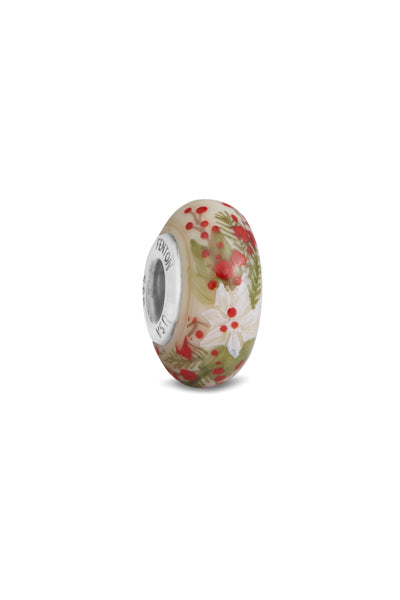 """Poinsettia"" Hand Painted Bead"