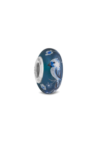 """Sapphire"" Hand Decorated Glass Bead"