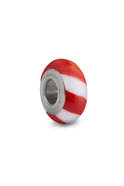 """Candy Cane"" Glass Crafted Spacer Bead"