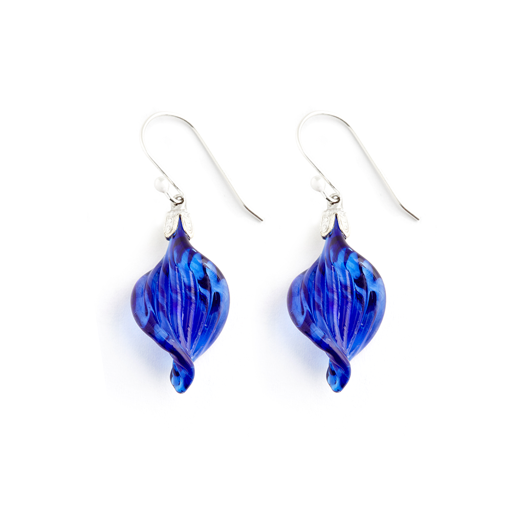 Sapphire Twist Earrings - Fenton Glass Jewelry
