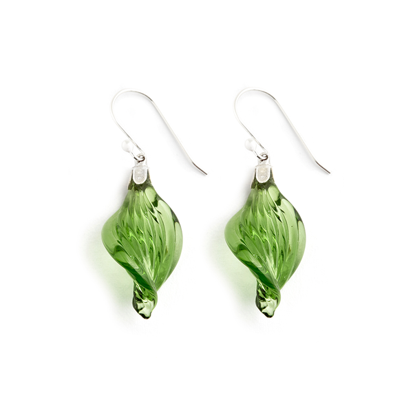 Peridot Twist Earrings - Fenton Glass Jewelry