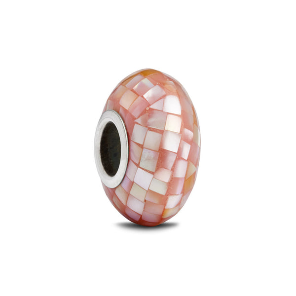 Pink Mother of Pearl Spacer Bead - Fenton Glass Jewelry